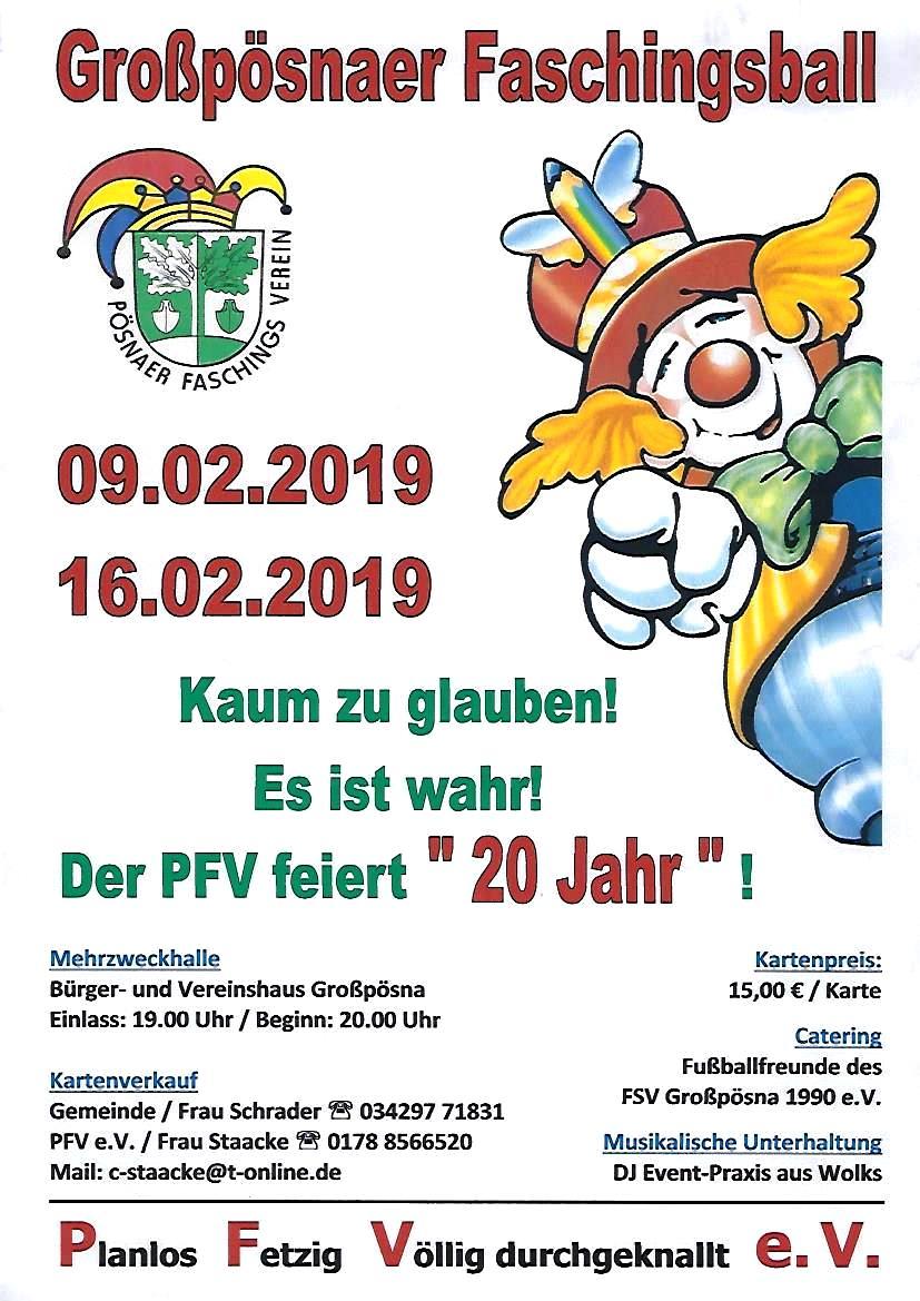 Plakat Großpösnaer Faschingsball