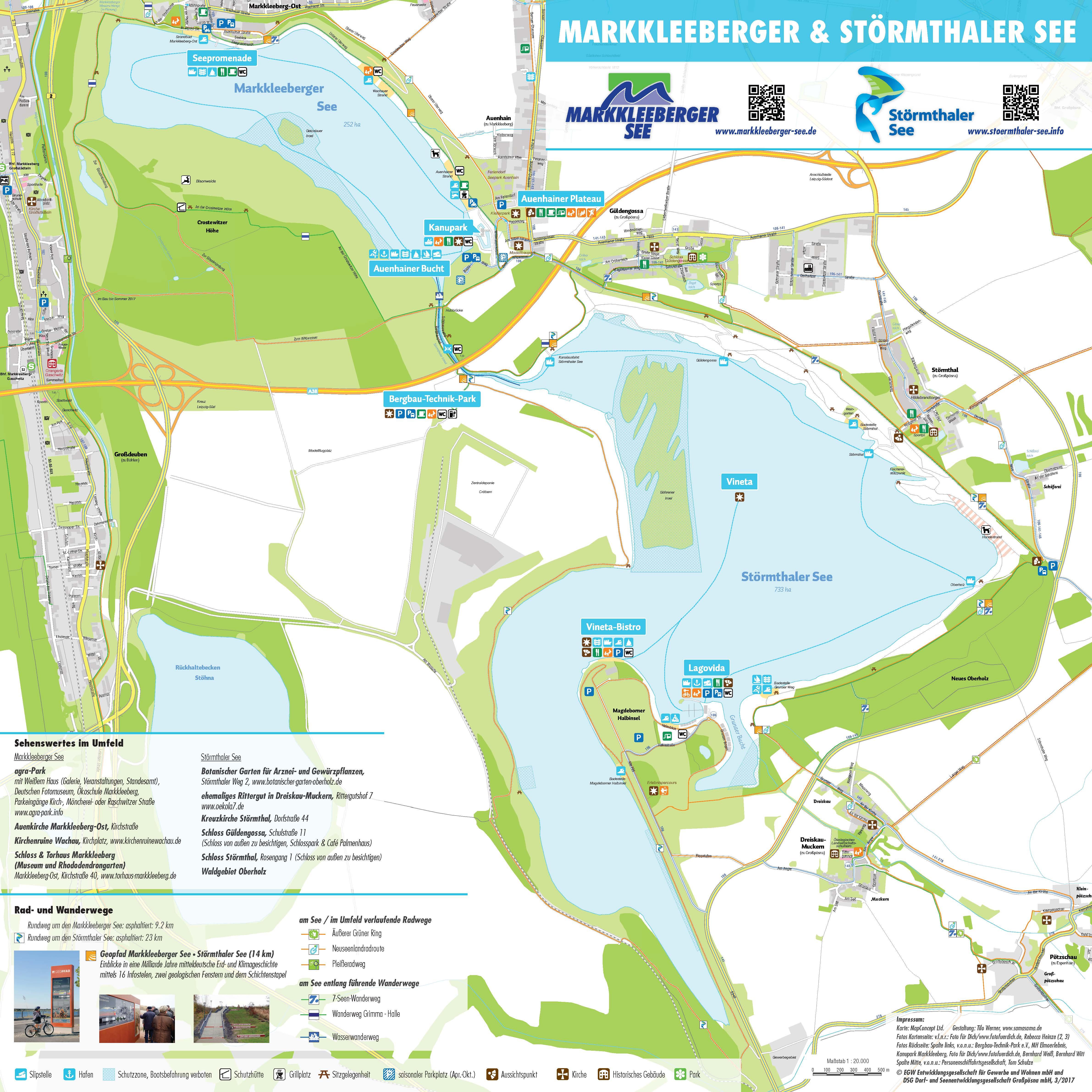 Karte Störmthaler und Markkleeberger See